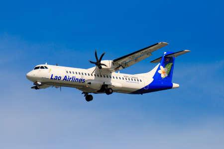 CHIANGMAI THAILAND - SEPTEMBER 2017 Lao Airlines airplane landing at Chiangmai international airport in Afternoon day on September 20,2017 in Chiangmai Thailand