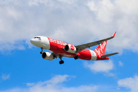 CHIANGMAI THAILAND - October 2017 Thai Airasia airplane landing at Chiangmai international airport in Afternoon day on October 23,2017 in Chiangmai Thailand
