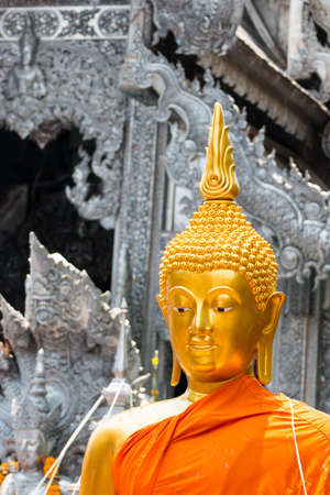 The miraculous Golden Buddha at Wat Si Suphan Located on Wua Lai Road, Chiang Mai Thailand. Generality in Thailand, any kind of art decorated in Buddhist church, temple etc. They are public domain or treasure of Buddhism, no restrict in copy of use.