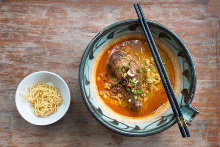 Khao Soi Kai, Curried Noodle Soup with Chicken,Thaifood in Chiang Mai