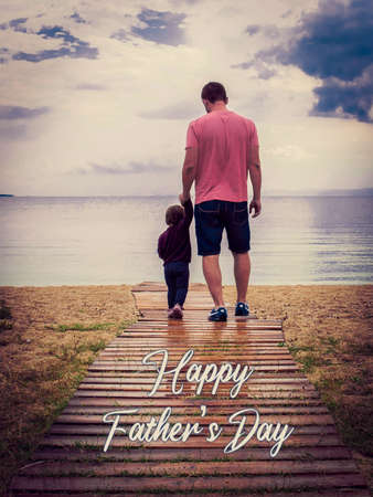 Men and a kid representing a father and a son. Father a son walking together. Poster, background o backdrop of a man and a kid with the text: Happy father's day. Copy space. Father and kid backwards.