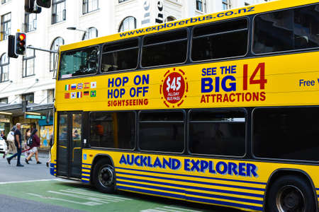 Auckland, New Zeland. 2017 March 31. Close up photo of a touristic bus waiting to cross the street.