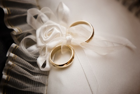 Set of wedding accessories on white lace photo