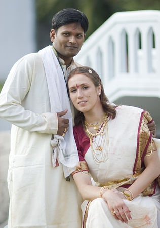 according: International couple married according to indian traditions