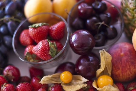 Variety of fresh berries served on table Stock Photo - 10128107