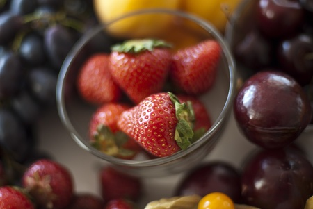 Variety of fresh berries served on table Stock Photo - 10128100
