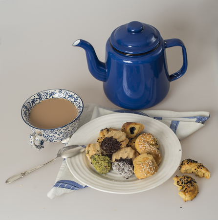 teatime: Teatime - selection of colorful small cookies
