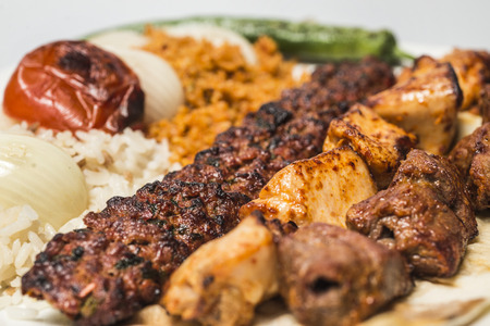 Traditional turkish food - selections of kebabs