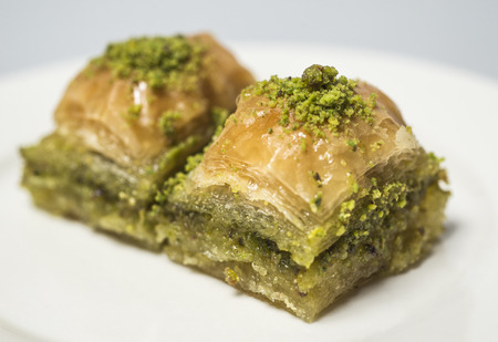 Traditional turkish sweets with pistachio - baklava