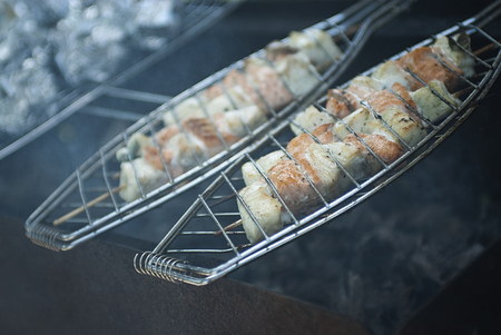 Fish on a grill - outdoor picnic. photo