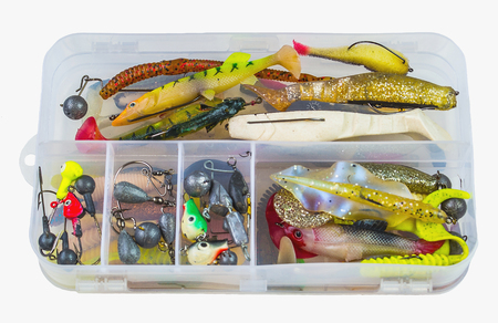 bobber: Fishing baits in plastic box