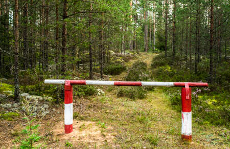 barrier: Barrier on timber road Stock Photo