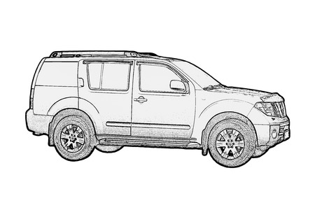 Car drawing monochrome on white