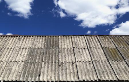 slate roof: Slate roof and sky Stock Photo