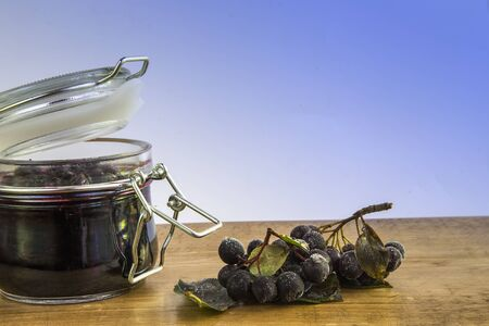 黒いナナカマドの果実とジャム 写真素材