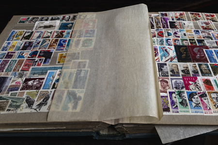 Postage stamps old album 写真素材