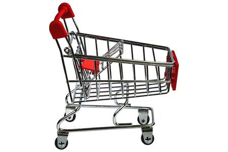 Shopping cart on white Stock Photo