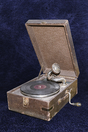 Retro gramophone with vinyl disk