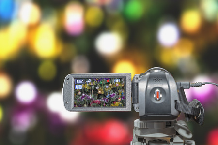 Video camera viewfinder background festive bokeh