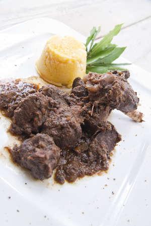 according dish of wild boar Stock Photo