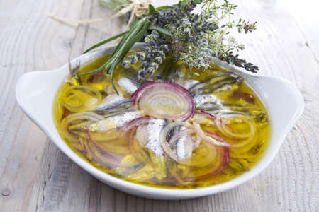dish made of fish - anchovies to the poor photo