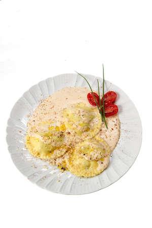 mascarpone: ravioli mascarpone and walnuts Stock Photo