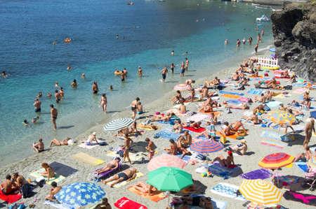 liguria: crowded beach