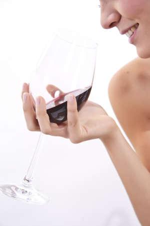 woman drinking wine: glass of wine