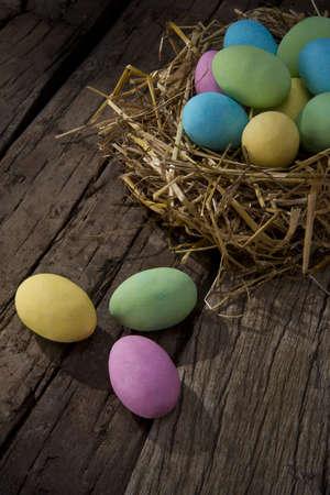 colored chocolate eggs photo