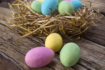 colored chocolate eggs photo