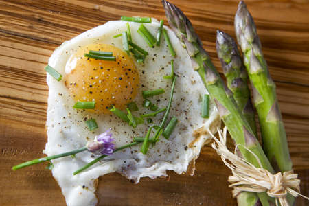 asparagus and eggs photo