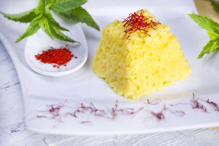 food combinations, saffron rice  Stock Photo