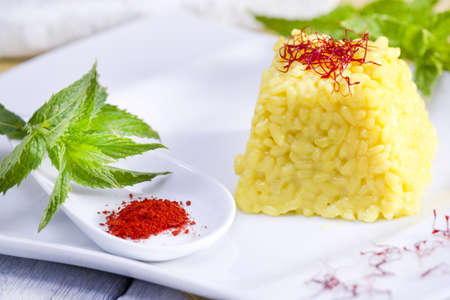 food combinations, saffron rice  photo