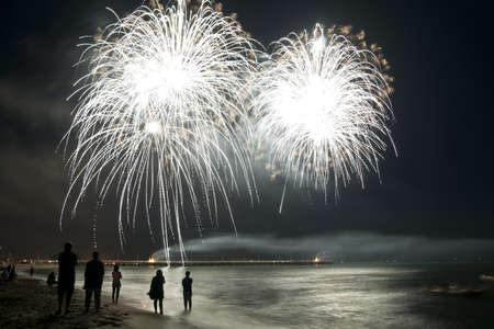花火ビーチ フォルテ ・ デイ ・ マルミ イタリア 写真素材