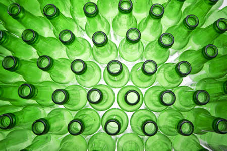 Background Made From Empty Beer Bottles photo