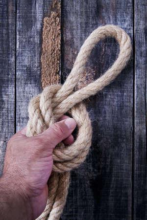 fixed line: Cuerda y nudo en el fondo