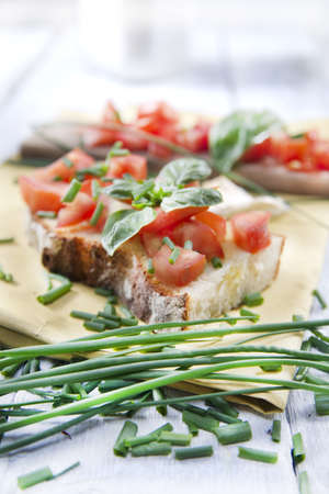 Dish Of Mediterranean Cuisine, Tomato And Basil Bruschetta  photo