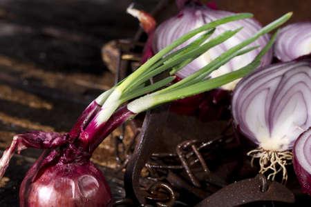 mediterrane k�che: Unverzichtbarer Bestandteil in der mediterranen K�che, Red Onion Lizenzfreie Bilder