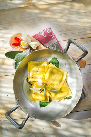 Dish Of Mediterranean Cuisine, Ravioli With Butter And Sage Stock Photo