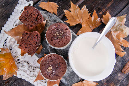 Morning Breakfast Made From Fresh Milk And Muffins  photo
