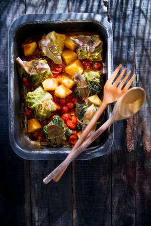 Second Dish Of Meat Dumplings Baked In Cabbage Leaves Stock Photo - 23307749