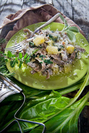 pizzoccheri: Typical dish of the Italian tradition, Pizzoccheri of buckwheat flour