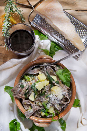 Typical dish of the Italian tradition, Pizzoccheri of buckwheat flour