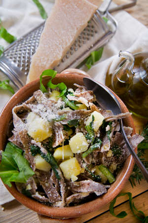 pizzoccheri: Typical dish of the Italian tradition, Pizzoccheri of buckwheat flour