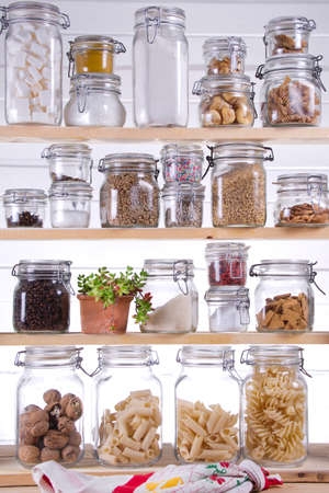 pantry: Small Pantry Housewife, Containing Necessary To Cook  Stock Photo