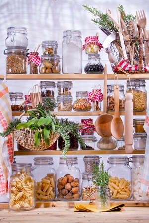 Small Pantry Housewife, Containing Necessary To Cook  版權商用圖片