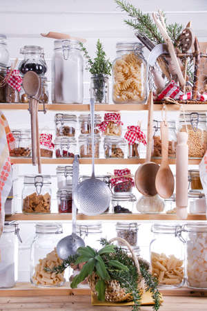 supplies: Small Pantry Housewife, Containing Necessary To Cook  Stock Photo