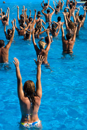 get in shape: Time to get in shape by following water aerobics classes   Stock Photo