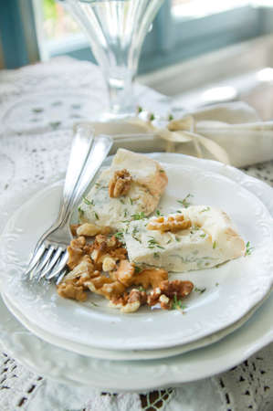 stilton: According dish made of cheese as Stilton and walnuts