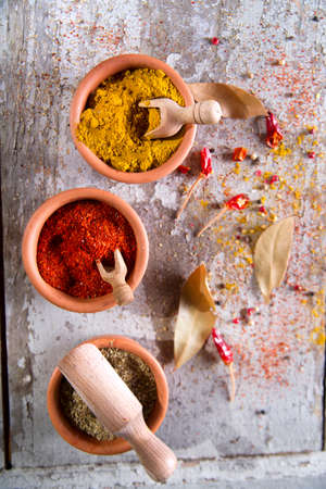 Presentation of mixed spices needed for international cuisine photo